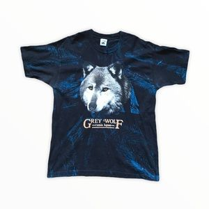 90's Grey Wolf Canis Lupus AOP Tee